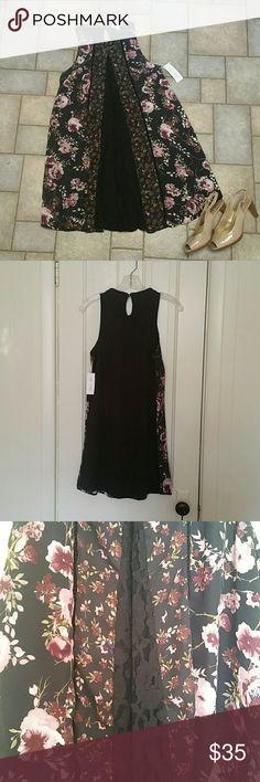 NTW Skylar and Jade floral mix media swing dress Super cute. Never worn. Size S. Skylar and Jade Dresses