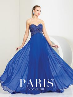 Paris - 116726 - Strapless chiffon A-line gown, sweetheart neckline, hand-beaded empire bodice, softly gathered skirt. Removable straps included. #promdresses moncheriporm.com