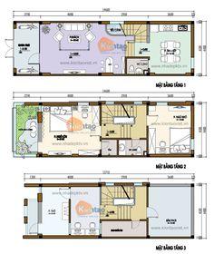 Mặt bằng thiết kế nhà lô phố đẹp 3 tầng 64m2, nhà chia lô đẹp, thiết kế nhà đẹp