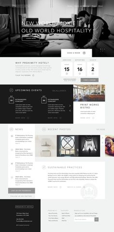 Proximity Hotel web design, interesting use of layout and separating a one pager