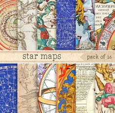 Astronomical Maps Digital Paper by ElyseBear on @creativemarket