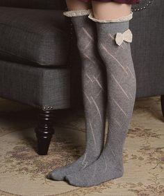 Loving this Gray Pointelle Thigh-High Socks on #zulily! #zulilyfinds