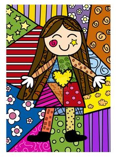 Long-haired Girl pop-art by Romero Britto - this one reminds me of my daughter when she was a little girl Art Pop, Drawing For Kids, Art For Kids, Art Plastique, Art Lessons, Painted Rocks, Coloring Pages, Art Drawings, Art Projects