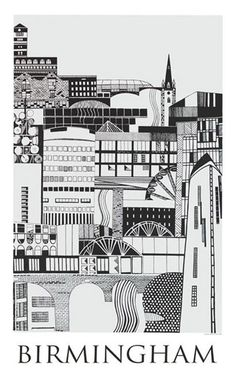"""""""Birmingham (blue)"""" by Emma Hardicker  This print is based on Birmingham's iconic buildings. There are twelve recognisable pieces of architecture in the silkscreen print, placed together to create an architectural pattern in an illustrative way. Have fun trying to find them all!"""