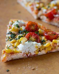 Tomato, Corn and Goat Cheese Pizza
