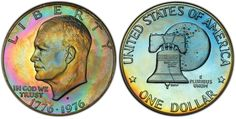 There are two major varieties in the Eisenhower Bicentennial Dollar Proof. This PCGS Proof is of the Type 2 variety. Type 2 proofs are distinguished by thinner letters. Us Coins, Rare Coins, Proof Coins, In God We Trust, Coin Collecting, Letters, Type, Silver, House