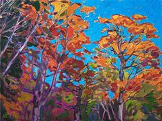Oil painting of autumn scenery in New Hampshire by contemporary artist Erin Hanson