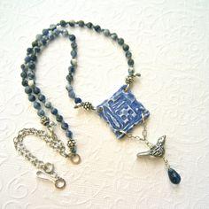 Blue ceramic necklace, house necklace, bird necklace, mixed media necklace on Etsy, $51.61