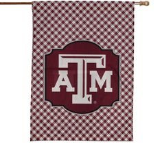 """Texas A&M Aggies 28"""" x 40"""" Gingham Design House Flag"""