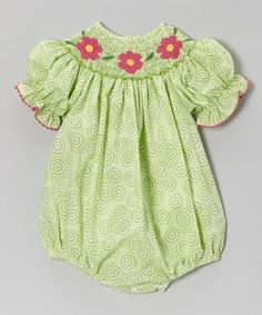 Take a look at this Green Flower Smocked Bubble Bodysuit - Infant on zulily today!