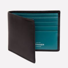 Ettinger London - Luxury Leather Goods - Sterling Billfold Wallet with 6 C/C in Turquoise