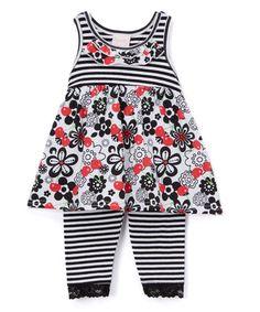 Look at this #zulilyfind! Gray & Black Floral Top & Leggings - Toddler #zulilyfinds