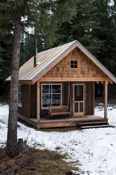 Cabin in 2019 cabins and cottages small log cabin tiny house gall Tiny Cabins, Tiny House Cabin, Log Cabin Homes, Cabins And Cottages, Tiny House Living, Tiny House Plans, Tiny House Design, Rustic Cabins, Small Cabin Plans