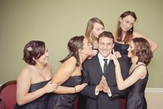bridal party pose