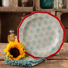 "The Pioneer Woman Happiness 8.5"" Red Rim Decorated Scallop Shape Salad Plates (Available in Set of 4 or Single)"