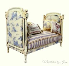 French Directoire Daybed. Miniatures by June  Dollhouse Furniture