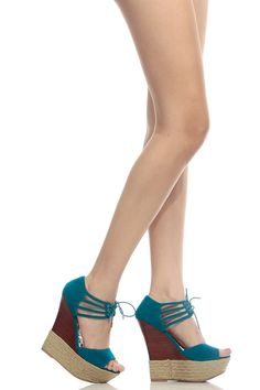 29c18584934 Teal Faux Suede Lace Up Open Toe Espadrille Wedges   Cicihot Wedges Shoes  Store Wedge Shoes