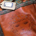 Leather hand painted bag , lotus leather Persian oriental bag   bag   art  leather bag  bag   's day