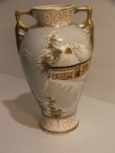Royal Nippon Nishixi Double Handled Hand Painted Vase | eBay