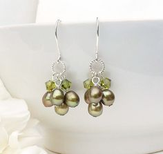 Green pearl earrings handmade bead jewelry by CreativityJewellery, $35.00