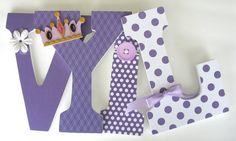 Purple Princess Wooden Letters - Baby Girl Room Decor - Handmade Baby Shower Gift.