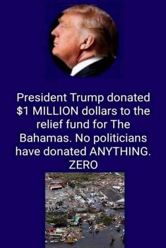 His man puts his money in to helping others. Unlike a number of our politicians. Political Ideology, Political Views, Trump We, Vote Trump, Pro Trump, Donald Trump, Trump Is My President, Trump Train, Conservative Politics