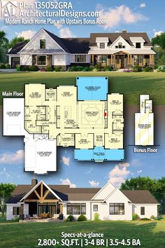 House Plan 135052GRA gives you 2,800+ square feet of living space with 3-4 bedrooms and 3.5-4.5 baths. AD House Plan #135052GRA #adhouseplans #architecturaldesigns #houseplans #homeplans #floorplans #homeplan #floorplan #houseplan Ranch House Plans, Country House Plans, New House Plans, Modern House Plans, House Floor Plans, Craftsman Farmhouse, Modern Craftsman, Farmhouse Plans, Built In Lockers