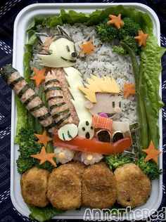 Calvin & Hobbes Bento! by AnnaTheRed. She's pretty much a genius. This Calvin and Hobbes bento is pure love.