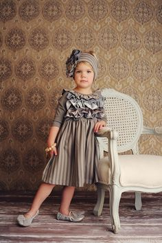 Graphite pearl dress, Gray headband