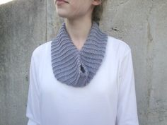 Gray Tube Scarf Alpaca & Bamboo Hand Knit Cuddly Cowl by Girlpower