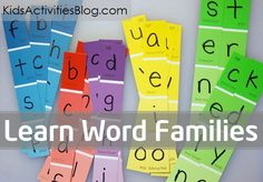 "Use letter ""slides"" made out of paint chips to help your child learn word families.  Also, there is a list of the most common word family groups that kids should learn in kindergarten."