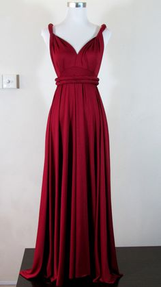 Made to order FULL Length maxi Dress day dress Convertible Dress in Deep Wine Red Infinity Dress Multiway Dress Wrap dress Raspberry red