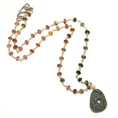 Gemstones Necklace River Rock Necklace Heart Necklace by FizzCandy, $100.00