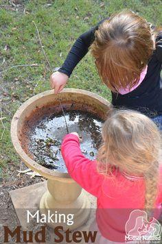 Making mud stew - messy play for kids - Mother Natured Outside Activities, Activities For Kids, Nature Activities, Preschool Ideas, Outdoor Crafts, Outdoor Fun, 4 Kids, Cool Kids, Children