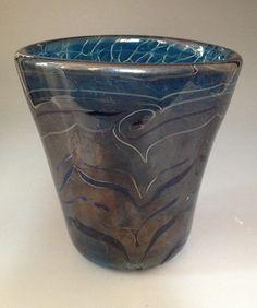 Dark blue handblown glass vase by HorkoverGlass