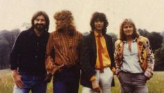 John Bonham, Robert Plant, Jimmy Page, and John Paul Jones in Knebworth, England. August 1979. Photo by Aubrey Powell.