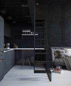 Un mini loft gris en Russie You may have great decorating ideas. Mini Loft, Estilo Industrial Chic, Small Apartments, Small Spaces, Loft Spaces, Interior Design Kitchen, Interior Decorating, Interior Modern, Decorating Ideas
