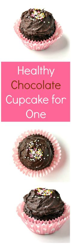 Healthy Chocolate Cupcake for One Recipe | Your new favorite healthy dessert recipe! It's so rich and chocolatey and makes just 1 cake.