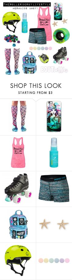 "Roller derby outfit idea | Fri-yay Fashion: ""Mermaids Ahoy!"" by Bout Betties on Polyvore featuring Samsung, John Frieda, Riedell, NIKE, Current Mood, Protec, Deborah Lippmann and Shock Doctor"