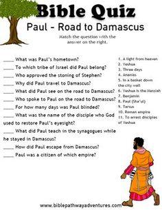 Printable bible quiz - Paul: Road to Damascus. Bible Activities For Kids, Sunday School Activities, Sunday School Lessons, Bible Study For Kids, Bible Lessons For Kids, Kids Bible, Children's Bible, Free Bible, Bible Verses