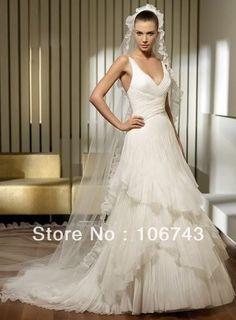 free shipping 2016 fashion new style hot sale Sexy wedding sweet princess tiered custom logo wholesale/retail white bridal dress