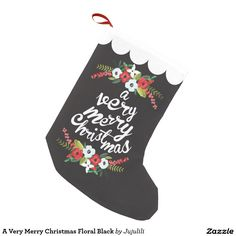 A Very Merry Christmas Floral Black Small Christmas Stocking