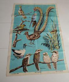 Vintage Unused Irish Linen Tea Towel  Australian Birds Souvenir Blue    5499