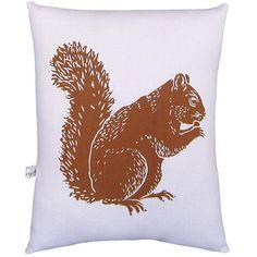 Artgoodies Squirrel Block Print Squillow Accent Pillow   Wayfair