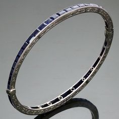 Coven-LaCloche Art Deco Blue Sapphire Platinum Filigree Bangle Bracelet #CovenLaCloche #BangleBracelets