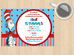 Digital Download Cat In The Hat Kids, Children's, Birthday Invitation, Red, Blue, White, Book, TV Show, Movie, Customisable, Thing 1 Thing 2 by DesignsByMoniqueAU on Etsy