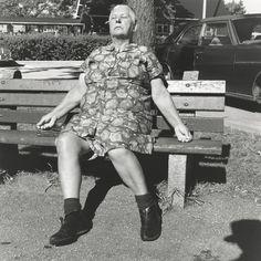 Vivian Maier - Self-Portrait, 1974 (woman on bench) / Silver Gelatin Print - 12 x 12 (on 16x20 paper)