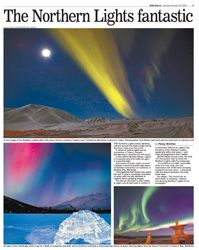 Article on my northern light photos which was published in newspapers around the world