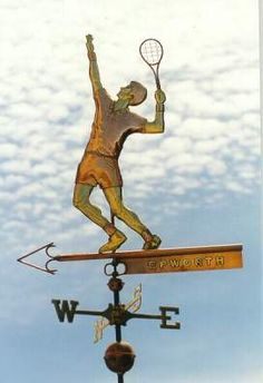 Tennis Player Weather Vane, Male by West Coast Weather Vanes.  This handcrafted Male Tennis Player weather vane  consists of a copper  tennis player with gold leaf legs, arms and face.