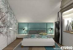 Projekt sypialni na poddaszu Bedroom Loft, Kids Bedroom, Master Bedroom, Bedroom Decor, Bedroom Ideas, Luxury Homes Interior, Home Interior Design, Home Improvement, House Design